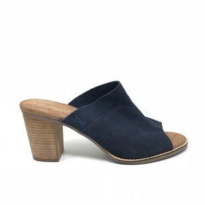 Toms Sz 12 Majorca Mule Open Toe Sandals Navy Blue